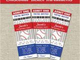 Printable Baseball Ticket Birthday Invitations Baseball Ticket Invitations Printables Editable Text Pdf