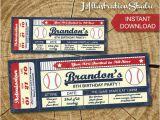 Printable Baseball Ticket Birthday Invitations Instant Downlod Baseball Ticket Invitation Printable Kid