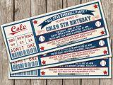 Printable Baseball Ticket Birthday Invitations Vintage Baseball Ticket Invitation Baseball Birthday Party