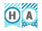 Printable Happy 13th Birthday Banners Printable Birthday Banner In Blues Gray Especially Paper