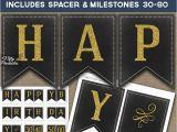 Printable Happy 70th Birthday Banner Printable Chalkboard Happy Birthday Banner Black Gold