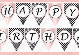 Printable Happy Birthday Banner Letters Black and White Items Similar to Instant Download Diy Paris Birthday Party