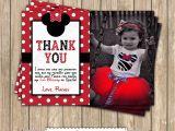 Printable Minnie Mouse Birthday Card Minnie Mouse Red Thank You Card Photo Printable Birthday
