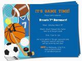 Printable Sports Birthday Cards Printable Birthday Sports theme Invitation by