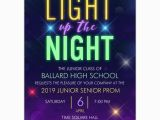Prom themed Birthday Invitations Light Up the Night High School Prom Invitations Paperstyle