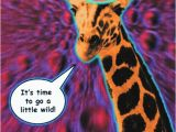 Psychedelic Birthday Card Funny Giraffe Birthday Card is Crafted In Popliments