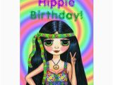 Psychedelic Birthday Card Hippie Birthday Cute Psychedelic Hippie Girl Card Zazzle Ca