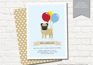 Pug Birthday Invitations Blue Boy Pug Birthday Party Digital Invitation by Twinkle