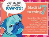 Pug Birthday Invitations Dog Birthday Party Invitation Pet Party Pug Party
