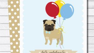 Pug Birthday Invitations New Designs Pug theme Party Invitations Twinkle