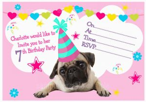 Pug Birthday Invitations Personalised Pug Birthday Party Invitations or Thank You
