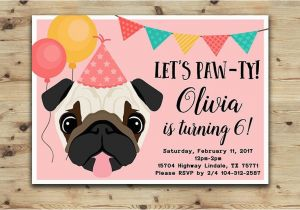 Pug Birthday Invitations Pug Birthday Invitation Girls and Boys Party Pug Invitation