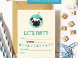Pug Birthday Invitations Pug Birthday Invitation Printable Pug Party Invitations