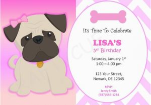 Pug Birthday Invitations Pug Birthday Invitation Puppy Party Invitation Dog Party
