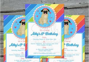 Pug Birthday Invitations Pug Birthday Invite Cute Dog Invitation Rainbow Birthday
