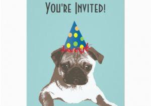 Pug Birthday Invitations Simple Pug In Hat Birthday Party Invitation Zazzle