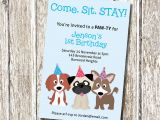 Puppy Birthday Invites Puppy Party Invitation Come Sit Stay Printable and