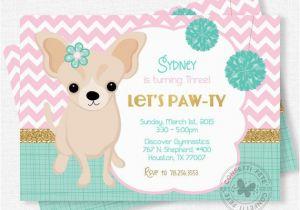 Puppy Birthday Invites Puppy Party Invitation Dog Birthday Invitation Chihuahua