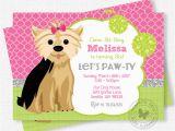Puppy Birthday Invites Puppy Party Invitation Dog Birthday Invitation Yorkie