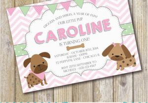 Puppy Themed Birthday Party Invitations Dog Invitation Girl