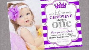 Purple 1st Birthday Invitations Purple Silver Princess Birthday Invitation Glitter Little