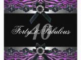 Purple 40th Birthday Decorations 40th Birthday Party Silver Purple Pink Black White Card
