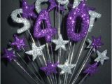 Purple 40th Birthday Decorations Alpha Age 40th Birthday Cake topper Decoration In Silver
