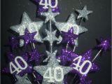 Purple 40th Birthday Decorations Star Age 40th Birthday Cake topper In Purple Silver