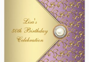 Purple and Gold 50th Birthday Invitations Elegant Purple and Gold Womans 50th Birthday Party Invitation