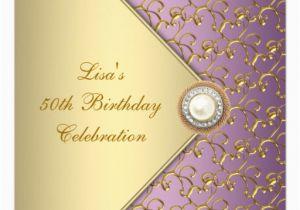Purple and Gold 50th Birthday Invitations Elegant Purple and Gold Womans 50th Birthday Party Invitation