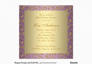 Purple and Gold 50th Birthday Invitations Elegant Purple and Gold Womans 50th Birthday Party