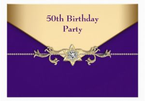 Purple and Gold 50th Birthday Invitations Personalized Purple and Gold 50th Birthday Invitations