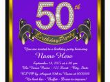 Purple and Gold 50th Birthday Invitations Purple and Gold 50th Birthday Party Invitation Zazzle