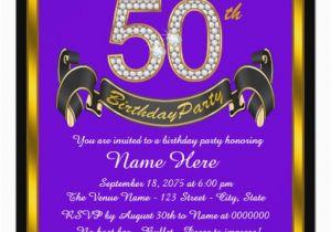 Purple and Gold 50th Birthday Invitations Purple and Gold 50th Birthday Party Invitation Zazzle