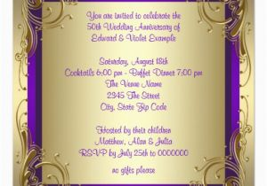 Purple and Gold 50th Birthday Invitations Purple and Gold 50th Wedding Anniversary Party 5 25