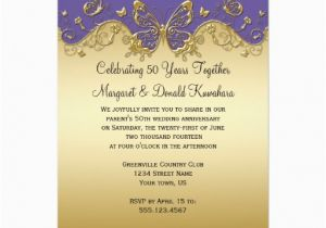 Purple and Gold 50th Birthday Invitations Purple and Gold butterflies 50th Anniversary Party Card