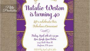 Purple and Gold 50th Birthday Invitations Purple Gold Birthday Invitations Nifty Printables