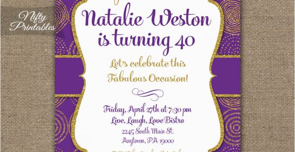 Purple and Gold 50th Birthday Invitations Purple Gold Birthday Invitations Nifty Printables