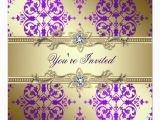 Purple and Gold 50th Birthday Invitations Purple Gold Damask Party Gt Gt Wedding Invitations