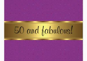 Purple and Gold 50th Birthday Invitations Purple Gold Fabulous 50th Birthday Party Invitation Zazzle