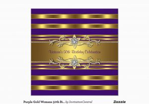 Purple and Gold 50th Birthday Invitations Purple Gold Womans 50th Birthday Party Invitation