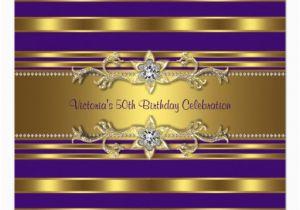 Purple and Gold 50th Birthday Invitations Purple Gold Womans 50th Birthday Party Invitation Zazzle