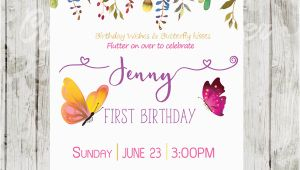 Purple butterfly Birthday Invitations butterfly Birthday Invitations Pink Purple Garden Flowers