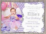Purple First Birthday Invitations 1st Birthday Invitation Purple and Grey Girls Purple