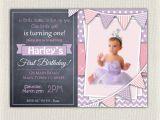 Purple First Birthday Invitations 1st Birthday Invitation Purple and Pink Girls Chalkboard