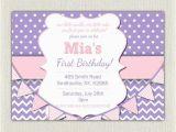 Purple First Birthday Invitations 1st Birthday Invitation Purple and Pink Girls Purple