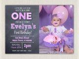 Purple First Birthday Invitations 1st Birthday Invitation Purple Girls Chalkboard Birthday
