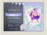 Purple First Birthday Invitations Elephant Girls Purple Grey 1st Birthday Invitation