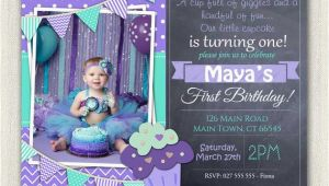 Purple First Birthday Invitations First Birthday Invitation Printable Download 1st Birthday