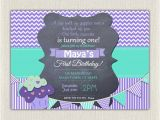 Purple First Birthday Invitations Girls 1st Birthday Invitation Printable First Birthday